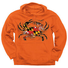 Maryland Ripped Crab Orioles Hoodie Sweatshirt - Maryland My Maryland - NWT