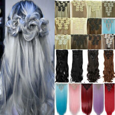 US Real Natural Clip in Hair Extension Full Head Long As Human Hair Double Thick