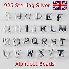 Alphabet Letters 925 Sterling Silver Charm Beads  Initial  Bracelet Bead Charms