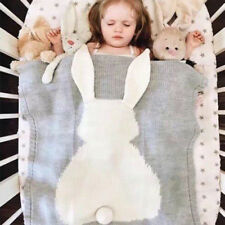 Cute Blanket Swaddle Toddler Rabbit Soft Warm Knit Sleeping Quilt Cot Baby