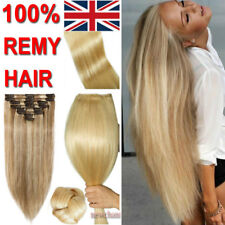 16/18/20/22inches 100% Real Human Hair Extension 8PCS Clip In Full Head UK LE202