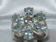 English Hallmarked Solid 925 Sterling Silver Natural Aquamarine Cluster Ring