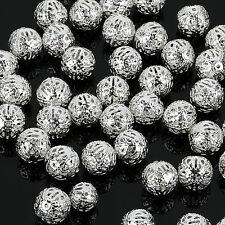 4/6/8/10mm SILVER PLATED FILIGREE Spacer Metal Beads Jewelry Making Choose