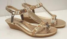 Womens Gold Evening Mid Wedge ANKLE STRAP Sandals Ladies party SHOES Sz 7.8.9.10