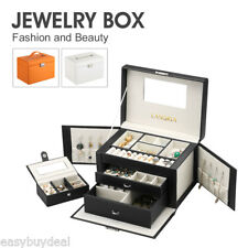 US BEAUTIFUL LARGE FAUX LEATHER JEWELRY BOX With TRAVEL CASE & LOCK
