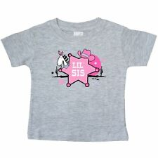 Inktastic Cowgirl Little Sister Baby T-Shirt Sis Cowboy Hat Sheriff Western Pink
