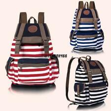 New Fashion Women Girls Backpack Canvas Stripe Leisure Bags School Bag 3 IXH4