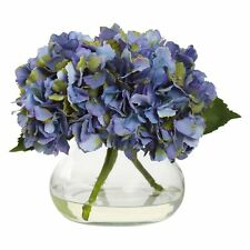 Nearly Natural Blooming Hydrangea Silk Flower with Glass Vase