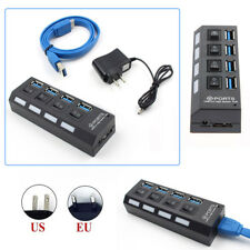 4/7 Ports USB 3.0 Hub W/ On/Off Switch + AC Power Adapter For Desktop Laptop PC