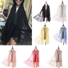 Large Soft Woman Lady Floral Lace Scarf Shawl Wrap Summer Beach Evening Cover-up