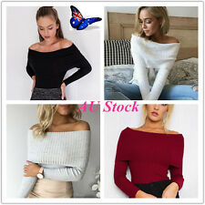AU Womens Lady Slim Off Shoulder Shirt Knit Crop Tops Long Sleeve Blouse Sweater