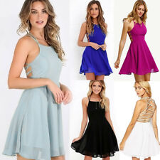 Sexy Women Bandage Bodycon Chiffon Backless Cocktail Party Evening Short Dress
