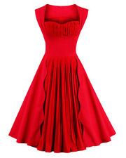 Women Vintage Retro 1950's Cocktail Party Pleated Dress Bridesmaid Wedding Gown