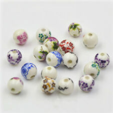 5/20pcs 8mm Blue And White Porcelain Ceramic Round Loose Beads Jewelry Making