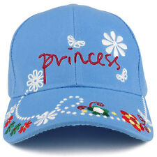 Youth Size Princess Flower Embroidered Adjustable Structured Baseball Cap