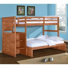 Donco Twin over Full Stairway Bunk Bed - Cinnamon