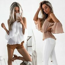 New Fashion Women Cold Shoulder Halter Collar Top Casual Backless Blouse T-Shirt
