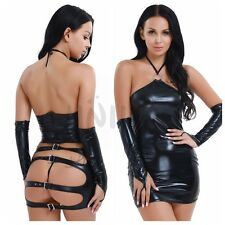 Womens Leather Bodycon Mini Dress G String Clubwear Lingerie Open Butt Costume