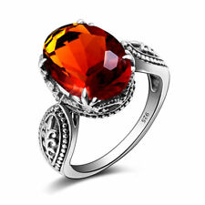 Fashion 925 Sterling Silver Rings Amber Ring Vintage Jewelry for Women Men Gift