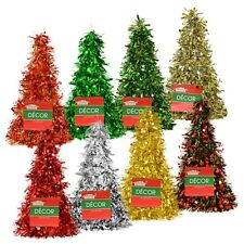 "10"" Cone Shape Tinsel Christmas Tree Tabletop Decor Holiday Metallic Centerpiece"