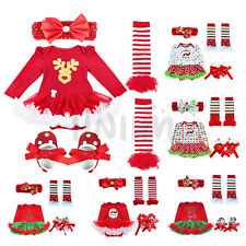 Christmas Infant Baby Girls Tutu Romper Dress Outfit Clothes 4Ps Set Costumes