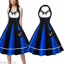 ELEGANT Ladies Women White Blue Floral 50s Vtg Rockabilly Swing Party Prom Dress