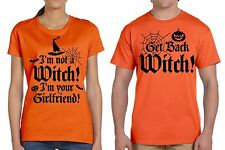 Funny Halloween Couple T-shirts Orange Couple Shirts Witch Girlfriend Scary Tee