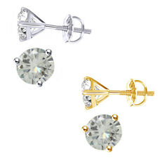 1.00 Ct Round Brilliant Cut Moissanite Martini Solitaire Stud Earrings In Gold