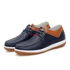 Mens Leather Lace Up Casual Dress Formal Deck Shoes Hidden Elevator Boat Shoes