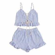 Women Blue Striped Sleeveless Lace Up Smocked Crop Cami
