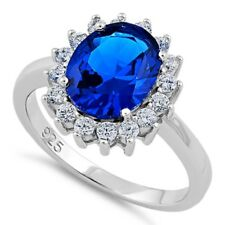 Halo Blue Sapphire CZ & Round Clear CZ Ring, Real Sterling Silver 925 Stamped
