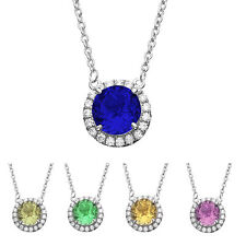 Platinum Plated Silver Round Cut Gemstone Pave CZ Pendant Necklace