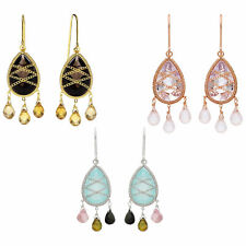 Rhodium or Gold Plated Silver Hand Wrapped Teardrop Chandelier Gemstone Earring
