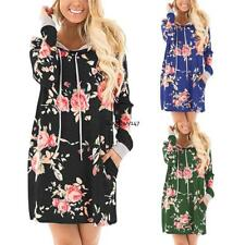 Women Fashion Hooded Long Sleeve Floral Print Pullover Hoodie Dress Plus Size