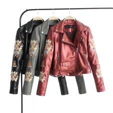 New Womens Red Gray Black Floral Embroidered Faux Leather Bomber Jacket Coat SML