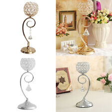 Crystal Effect Tea Light Candle Holder On Stem Ornament Wedding 35cm Silver/Gold