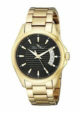 Lucien Piccard - 98660-YG-11 Mens Excalibur Black Textured Dial Gold Ion-Plated