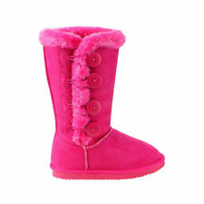 Girls vegan fur boots with buttons in fuchsia
