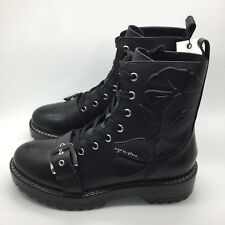 ZARA NEW AW17 EMBOSSED LEATHER BIKER ANKLE BOOTS 6134/201