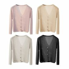 Summer Women V Neck Cardigan Outerwear Solid Color Button Sunscreen Clothing BK