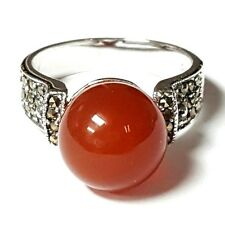 CARNELIAN Stone Ball RING Large Stone Marcasite 925 Sterling Silver (SIZE 6,8)