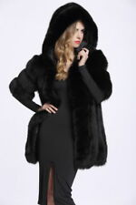 Black Womens Hooded Faux Fur Outwear Long Winter Warm Coat Jacket Overcoat