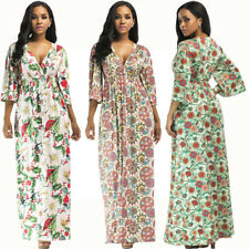 Floral Printed Long V-neck Pleated Dress Middle-sleeves Summer Party Plus Size