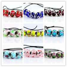 SILVER MURANO GLASS BEADS LAMPWORK Fit European Charm Bracelet Jewelry 5 Pcs