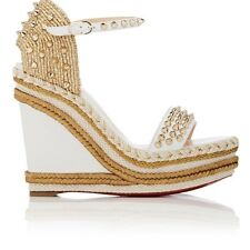 CHRISTIAN LOUBOUTIN WOMENS MADMONICA LEATHER WEDGE ESPADRILLE SANDALS
