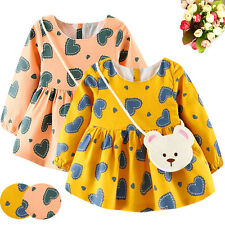 Toddler Baby Girls Heart Print Long Sleeve Princess Dress+Small Bag Party Dress
