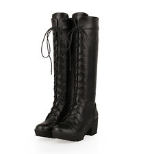 Motorcycle Womens Gothic lace Up Mid Heel Military Knee High Boot All US Sz Shoe