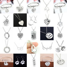 Paws Print Charm Dog Tag Pendants Necklace For Women Men Bracelet Earring Gifts