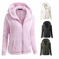 UK Womens Thicken Fleece Warm Faux Fur Winter Coat Hooded Parka Overcoat Jacket