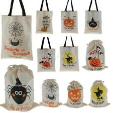 Halloween Party Treat Trick Cotton Canvas Tote Bag Children Kids Candy Gift Bag